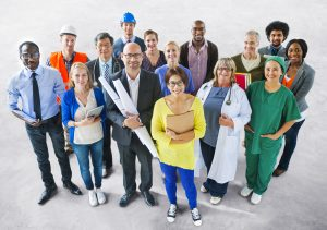 Community outreach, people with diverse jobs