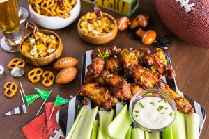 Appetizers on the table for the big game