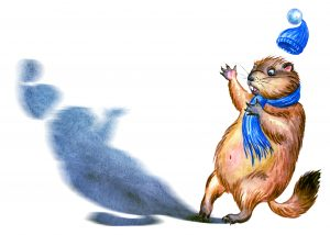 Groundhog and shadow, watercolor illustration on a white background, isolated. Postcard to the Groundhog Day.