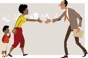 Mother with a small kid meeting a teacher, vector cartoon